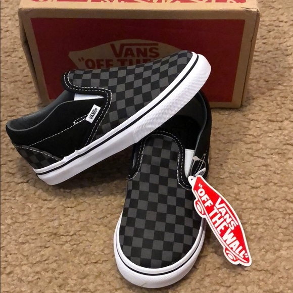 9646dd95a0 Black Pewter Checkerboard Classic Slip On Vans